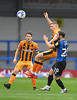 Hull City's Greg Docherty battles for the ball<br /> <br /> Photographer Dave Howarth/CameraSport<br /> <br /> The EFL Sky Bet League One - Rochdale v Hull City - Saturday 17th October 2020 - Spotland Stadium - Rochdale<br /> <br /> World Copyright © 2020 CameraSport. All rights reserved. 43 Linden Ave. Countesthorpe. Leicester. England. LE8 5PG - Tel: +44 (0) 116 277 4147 - admin@camerasport.com - www.camerasport.com