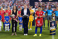 CHARLOTTE, NC - OCTOBER 3: Kate Margraf stands with Cindy Parlow Cone and Ali Krieger #11 of the United States during a game between Korea Republic and USWNT at Bank of America Stadium on October 3, 2019 in Charlotte, North Carolina.