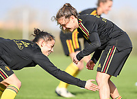20190226 - LARNACA , CYPRUS :  Belgian Lola Wajnblum (left) pictured with Belgian Davina Philtjens (r) during a Matchday -1 training from The Belgian Red Flames prior to their game against the women team of Slovakia , on Tuesday 26 February 2019 at the Alpha Sports Grounds in Larnaca , Cyprus . This will be the first game in group C for Belgium during the Cyprus Womens Cup 2019 , a prestigious women soccer tournament as a preparation on the European Championship 2021 qualification duels. PHOTO SPORTPIX.BE   DAVID CATRY
