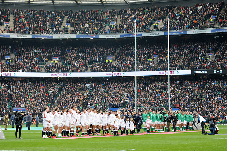 The teams line up for line up for the National Anthems before the Guinness Six Nations match between England and Ireland at Twickenham Stadium on Sunday 23rd February 2020 (Photo by Rob Munro/Stewart Communications)