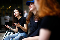 Leandra Mira, 17, protests for climate change on the steps  of the city county building with her friends downtown on Friday June 21, 2019 in Pittsburgh, Pennsylvania. (Photo by Jared Wickerham/Pittsburgh City Paper)