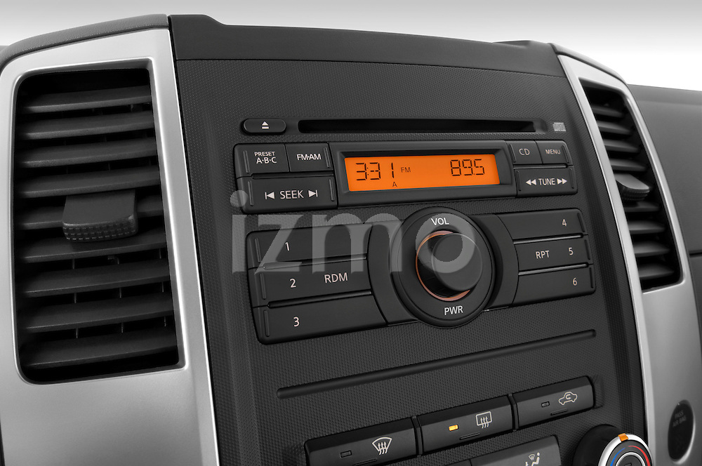 Stereo audio system close up detail view of a 2009 Nissan Frontier Crew Cab SE