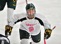 29 January 2012: University of Vermont Catamount defenseman Danielle Rancourt, a Sophomore from Sudbury, Ontario, in action against the University of New Hampshire Wildcats at Gutterson Fieldhouse in Burlington, Vermont. The Lady Cats, dressed in their Breast Cancer Awareness jerseys, edged out the Wildcats 2-1 to split their Hockey East twin-game weekend series. Mandatory Credit: Ed Wolfstein Photo