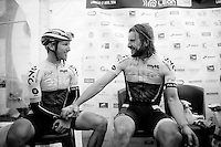 race winner Martin Mortensen (DNK/ONE) sharing the happy moment with runner-up & teammate Peter Williams (GBR/One) in the press tent immediately after the race<br /> <br /> 33th Tro Bro Léon 2016