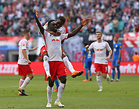 05.05.2018, Football 1. Bundesliga 2017/2018, 33.  match day, RB Leipzig - VfL Wolfsburg, in Red Bull Arena Leipzig. celebration  Diego Demme (RB Leipzig) , scorer Jean-Kevin Augustin (RB Leipzig) and Ademola Lookman (RB Leipzig) , Timo Werner (RB Leipzig)   4:1 *** Local Caption *** © pixathlon<br /> <br /> Contact: +49-40-22 63 02 60 , info@pixathlon.de