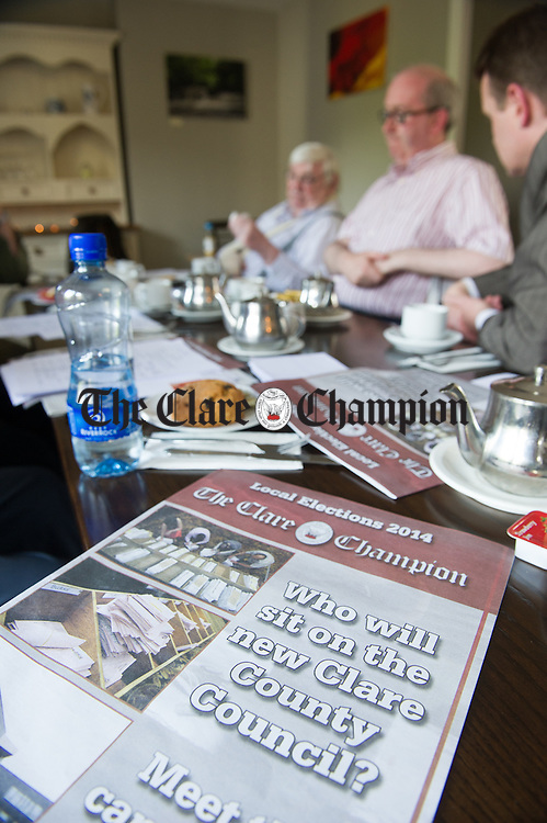 The Clare Champion Local Election 2014 special supplement on the table during the Clare Champion round table debate held in Cairde, Barrack, Street, Ennis. Photograph by John Kelly.