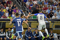 Houston, TX - Tuesday June 21, 2016: Ramiro Funes Mori, Clint Dempsey during a Copa America Centenario semifinal match between United States (USA) and Argentina (ARG) at NRG Stadium.