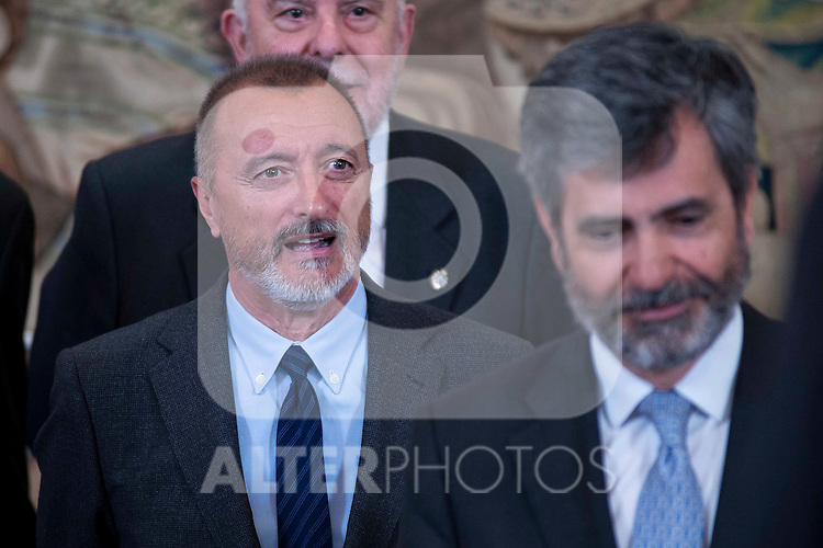 Writter Arturo Perez Reverte and the president of the Supreme Court of Spain, Carlos Lesmes during the audience to a representation of the participants in the elaboration of legal spanish dictionary in Madrid. May 11, 2016. (ALTERPHOTOS/Borja B.Hojas)