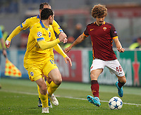 Calcio, Champions League: Gruppo E - Roma vs Bate Borisov. Roma, stadio Olimpico, 9 dicembre 2015.<br /> Roma's Salih Ucan, right, is challenged by Bate Borisov's Maksim Zhavnerchik during the Champions League Group E football match between Roma and Bate Borisov at Rome's Olympic stadium, 9 December 2015.<br /> UPDATE IMAGES PRESS/Riccardo De Luca