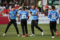 Tymal Mills of Sussex celebrates with his team mates after taking the wicket of Will Buttleman during Essex Eagles vs Sussex Sharks, Vitality Blast T20 Cricket at The Cloudfm County Ground on 15th June 2021
