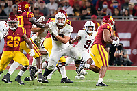 LOS ANGELES, CA - SEPTEMBER 11: Tucker Fisk, Noah Williams during a game between University of Southern California and Stanford Football at Los Angeles Memorial Coliseum on September 11, 2021 in Los Angeles, California.