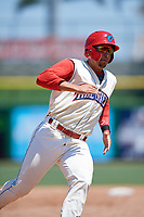Clearwater Threshers first baseman Darick Hall (21) runs the bases during a game against the Jupiter Hammerheads on April 11, 2018 at Spectrum Field in Clearwater, Florida.  Jupiter defeated Clearwater 6-4.  (Mike Janes/Four Seam Images)