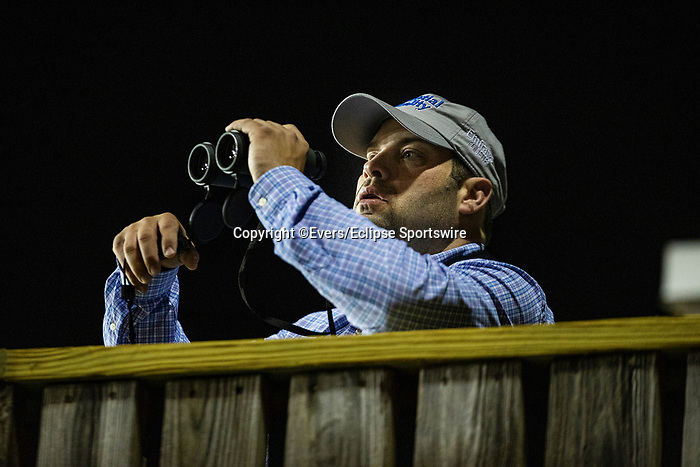 April 29, 2021: Trainer Brad Cox watches his horses train at Churchill Downs in Louisville, Kentucky on April 29, 2021. EversEclipse Sportswire/CSM