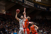 VALENCIA, SPAIN - JANUARY 6: Luke Sikma and Nikola Markovic during EUROCUP match between Valencia Basket and PAOK Thessaloniki at Fonteta Stadium on January 6, 2015 in Valencia, Spain