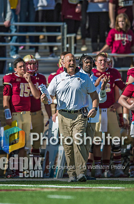 2 November 2013: Boston College Eagles head coach Steve Addazio call out to the field from the sidelines during the first quarter against the Virginia Tech Hokies at Alumni Stadium in Chestnut Hill, MA. Mandatory Credit: Ed Wolfstein-USA TODAY Sports *** RAW (NEF) Image File Available ***