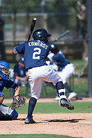 San Diego Padres second baseman Xavier Edwards (2) at bat during an Instructional League game against the Los Angeles Dodgers at Camelback Ranch on September 25, 2018 in Glendale, Arizona. (Zachary Lucy/Four Seam Images)