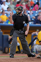 Umpire John Bacon during a game at Classic Park in Eastlake, Ohio;  August 20, 2010.  Photo By Mike Janes/Four Seam Images