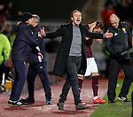 Ian Cathro celebrates the fourth goal for Hearts