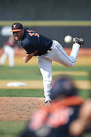 Virginia Cavaliers relief pitcher Bennett Sousa (11) delivers a pitch to the plate against the Wake Forest Demon Deacons at David F. Couch Ballpark on May 19, 2018 in  Winston-Salem, North Carolina. The Demon Deacons defeated the Cavaliers 18-12. (Brian Westerholt/Four Seam Images)