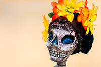 A flower-decorated skeleton figure is seen placed in the street during the Day of the Dead festival in Oaxaca, Mexico, 30 October 2019. Day of the Dead (Día de Muertos), a religious holiday combining the death veneration rituals of Pre-Hispanic cultures with the Catholic practice, is widely celebrated throughout all of Mexico. Based on the belief that the souls of the departed may come back to this world on that day, people gather together while either praying or joyfully eating, drinking, and playing music, to remember friends or family members who have died and to support their souls on the spiritual journey.