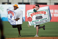 The Neese's Sausage race takes place between innings of the South Atlantic League game between the West Virginia Power and the Greensboro Grasshoppers at First National Bank Field on August 9, 2018 in Greensboro, North Carolina. The Power defeated the Grasshoppers 5-3 in game one of a double-header. (Brian Westerholt/Four Seam Images)