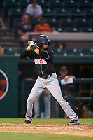 Jupiter Hammerheads Jorge Caballero (15) bats during a game against the Lakeland Flying Tigers on July 30, 2021 at Joker Marchant Stadium in Lakeland, Florida.  (Mike Janes/Four Seam Images)