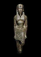 Ancient Egyptian statue of a Ptolomaic king in pharaonic regalia, granodiorire, Ptolemaic Period (332-30BC). Egyptian Museum, Turin. black background<br /> <br /> The Ptolomaic king is dressed a a pharaoh wearing a nemes headdress and a false beard . Drovetti Collection, Cat 1384