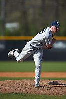 Catawba Indians relief pitcher Trent Montgomery (25) in action during game two of a double-header against the Queens Royals at Tuckaseegee Dream Fields on March 26, 2021 in Kannapolis, North Carolina. (Brian Westerholt/Four Seam Images)