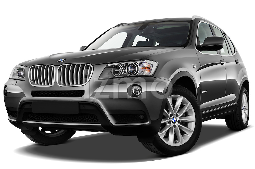 Low aggressive front three quarter view of a 2011 BMW x3 xDrive35i SUV