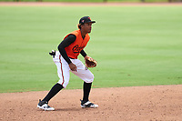 FCL Orioles Orange shortstop Isaac De Leon (51) during a game against the FCL Pirates Gold on August 9, 2021 at Ed Smith Stadium in Sarasota, Florida.  (Mike Janes/Four Seam Images)