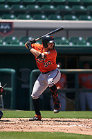 Baltimore Orioles Maverick Handley (90) bats during a Minor League Spring Training game against the Detroit Tigers on April 14, 2021 at Joker Marchant Stadium in Lakeland, Florida.  (Mike Janes/Four Seam Images)