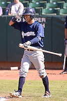 Omar Garcia (21) of the Helena Brewers comes to the plate in action against the Ogden Raptors at Lindquist Field on July 21, 2013 in Ogden Utah. (Stephen Smith/Four Seam Images)