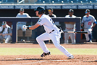Peoria Javelinas designated hitter Ryan Boldt (26), of the Tampa Bay Rays organization, starts down the first base line during an Arizona Fall League game against the Glendale Desert Dogs at Peoria Sports Complex on October 22, 2018 in Peoria, Arizona. Glendale defeated Peoria 6-2. (Zachary Lucy/Four Seam Images)