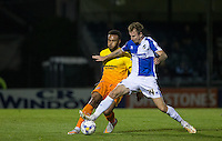 Chris Lines of Bristol Rovers & Aaron Holloway of Wycombe Wanderers battle for the ball during the Johnstone's Paint Trophy match between Bristol Rovers and Wycombe Wanderers at the Memorial Stadium, Bristol, England on 6 October 2015. Photo by Andy Rowland.