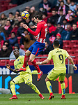 Sime Vrsaljko of Atletico de Madrid heads the ball during the La Liga 2017-18 match between Atletico de Madrid and Getafe CF at Wanda Metropolitano on January 06 2018 in Madrid, Spain. Photo by Diego Gonzalez / Power Sport Images