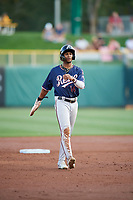 Nick Heath (14) of the Reno Aces takes a lead from second base against the Salt Lake Bees at Smith's Ballpark on August 24, 2021 in Salt Lake City, Utah. The Aces defeated the Bees 6-5. (Stephen Smith/Four Seam Images)