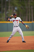 Brevard County Manatees third baseman Jose Cuas (1) throws to first base during a game against the Lakeland Flying Tigers on April 20, 2016 at Henley Field in Lakeland, Florida.  Lakeland defeated Brevard County 5-2.  (Mike Janes/Four Seam Images)