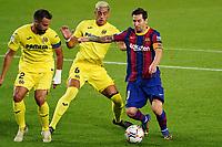 27th September 2020; Camp Nou, Barcelona, Catalonia, Spain; La Liga Football, Barcelona versus Villareal; picture show Leo Messi holds off  Funes Mori and Mario Gaspar of Villareal