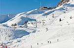 Italy, Alto Adige - Trentino, South Tyrol, above Selva di Val Gardena: ski run at Passo Gardena (2.585 m) | Italien, Suedtirol, Groednertal, oberhalb Wolkenstein, Skipiste am Groednerjoch (2.585 m)