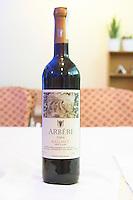 Bottle of Arberi 2004 Kallmet Eurogers Mirdite. Kallmet grape variety. Tirana capital. Albania, Balkan, Europe.