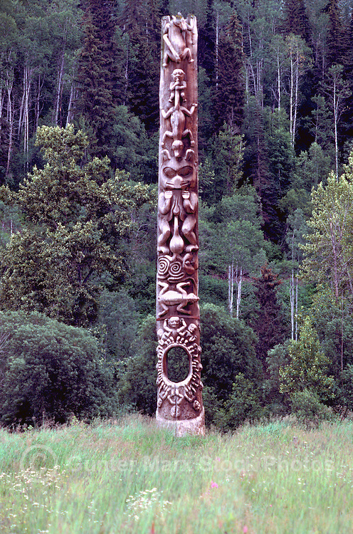 Gitxsan (Gitksan aka Tsimshian) Totem Pole, Gitanyow (Kitwancool), Northern BC, British Columbia, Canada - Totem called Hole in the Ice
