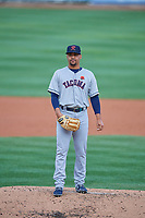 Tacoma Rainiers starting pitcher Justus Sheffield (10) looks to the plate against the Salt Lake Bees at Smith's Ballpark on May 27, 2019 in Salt Lake City, Utah. The Bees defeated the Rainiers 5-0. (Stephen Smith/Four Seam Images)