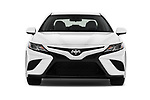 Car photography straight front view of a 2018 Toyota Camry SE Auto 4 Door Sedan