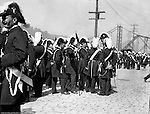 Pittsburgh PA:  Pittsburgh-area Manson marching in the annual St Patrick's Day Parade.  View of Homer Stewart and fellow Masons disbanding after the parade was finished on Water Street.