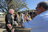 Pictured: Detective Inspector Jon Cousins of South Yorkshire Police briefs the media at the start of day 21 of the search at the second site in Kos, Greece. Sunday 16 October 2016<br />Re: Police teams led by South Yorkshire Police are searching for missing toddler Ben Needham on the Greek island of Kos.<br />Ben, from Sheffield, was 21 months old when he disappeared on 24 July 1991 during a family holiday.<br />Digging has begun at a new site after a fresh line of inquiry suggested he could have been crushed by a digger.