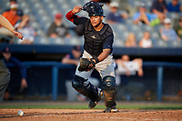 Lowell Spinners catcher Alan Marrero (21) tracks down a loose ball during a game against the Connecticut Tigers on August 26, 2018 at Dodd Stadium in Norwich, Connecticut.  Connecticut defeated Lowell 11-3.  (Mike Janes/Four Seam Images)