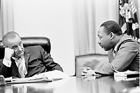 Washington, USA - File Photo - Martin Luther King (L) and US President Lyndon B Johnson (R) meet at the White House  on March 18,1963