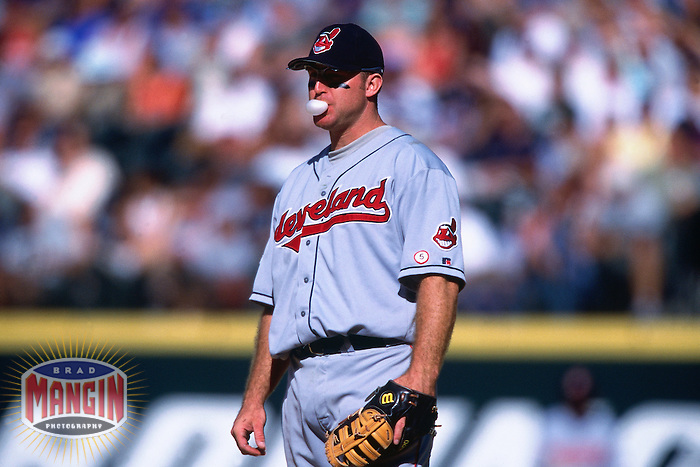 SEATTLE, WA - Jim Thome of the Cleveland Indians in action during a game against the Seattle Mariners at Safeco Field in Seattle, Washington in 2001. Photo by Brad Mangin