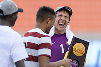 Houston, TX - Friday December 11, 2016: Stanford Cardinal Goalkeeper, Andrew Epstein celebrates with his teammates after defeating the Wake Forest Demon Deacons in the College Cup at the NCAA Men's Soccer Finals at BBVA Compass Stadium in Houston Texas.