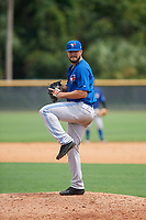 GCL Blue Jays relief pitcher Juan Meza (21) delivers a pitch during the first game of a doubleheader against the GCL Yankees East on July 24, 2017 at the Yankees Minor League Complex in Tampa, Florida.  GCL Blue Jays defeated the GCL Yankees East 6-3 in a game that originally started on July 8th.  (Mike Janes/Four Seam Images)